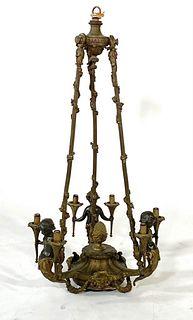 Bronze Figural Six Light Chandelier