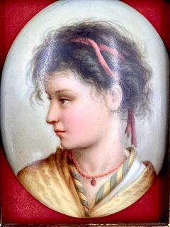 Small KPM Porcelain Plaque of a Gypsy