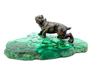 Bronze Dog on Malachite Desk Accessory