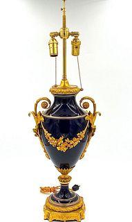 Gilt & Cobalt Blue Porcelain Lamp