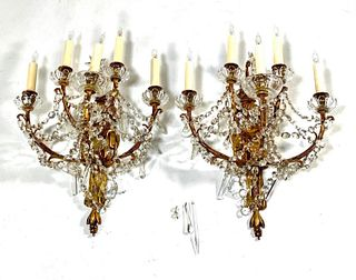 Pair of Brass and Crystal Five Light Wall Sconces -