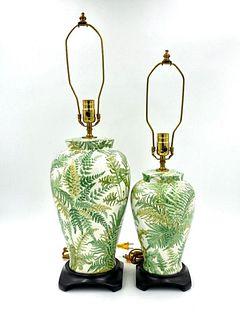 Two Fern Pattern Table Lamps