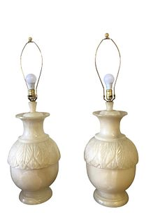 Vintage Collosal Alabaster Lamps A Pair