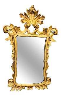 Italian Rococo Style Gold Gilt Wooden Mirror