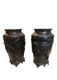 Antique Japaneese Bronze Urns Eagle and Sparrow