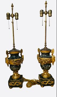 Antique French Marble and Ormolu Table Lamps