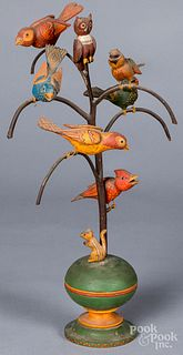 Paul Tyson carved and painted bird tree