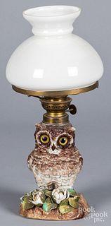 Miniature porcelain figural owl fluid lamp
