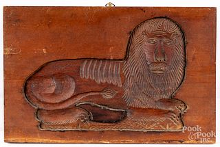 Carved lion cookie board, ca. 1900