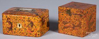 Two decoupage boxes, ca. 1900