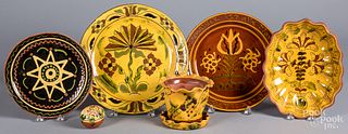 Six pieces of Lester Breininger redware