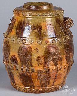 Large American redware barrel churn, 19th c.
