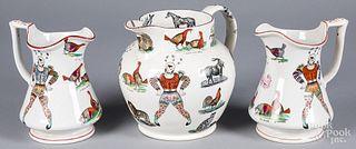 Three Elsmore & Foster ironstone pitchers