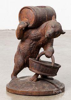 Carved black forest bear wine bottle holder