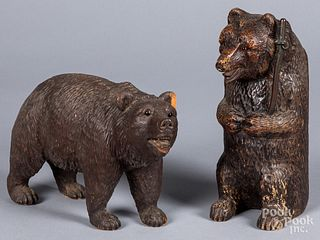 Two carved black forest bears