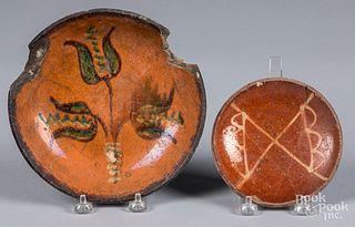 Two Pennsylvania redware pie plates, 19th c.