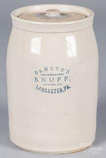 Pennsylvania stoneware lidded crock, late 19th c.