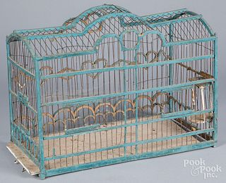 Blue painted wood and wire birdcage, early 20th c.