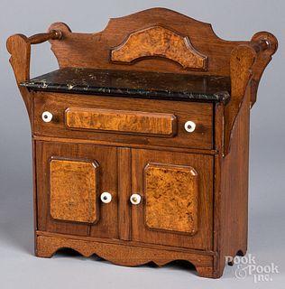 Victorian walnut doll cupboard, with slate top