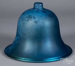 Blue painted glass bell jar