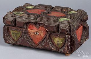 Tramp Art dresser box, ca. 1900