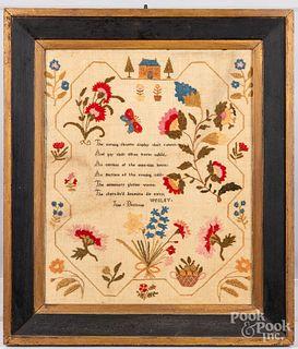 Silk on linen sampler, 19th c.