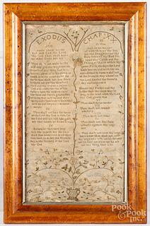 English silk on linen ten commandments sampler