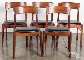 Five Danish modern rosewood chairs