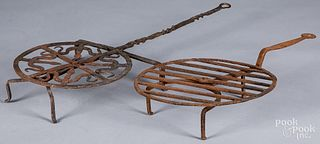 Two wrought iron rotating broilers, 19th c.