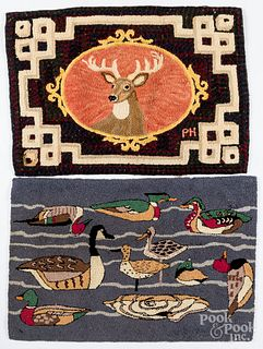 Two contemporary hooked rugs, of a stag and ducks