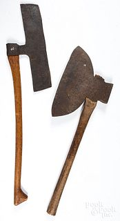Early wrought iron axe and a large broad axe
