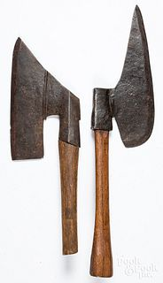 Two early wrought iron goose wing axes, ca. 1800