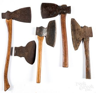 Five early wrought iron axes, ca. 1800