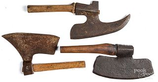 Three early wrought iron goose wing axes, ca. 1800