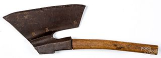 Early wrought iron goose wing axe, ca. 1800