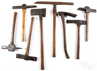 Group of post hole morticing axes, 19th c., etc.