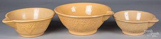 Nest of three yellowware batter bowls, 19th c.