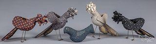 "Five fabric birds, 20th c., tallest - 5 1/2""."