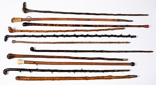 Eleven walking sticks, 19th/early 20th c.