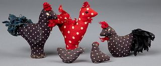 Group of fabric birds sold by Hattie Brunner