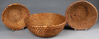 Three Pennsylvania rye straw baskets, 19th c.