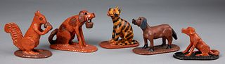 Five Donald Winer figural redware animals, 20th c.