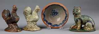 Four pieces of Stahl redware, 20th c.