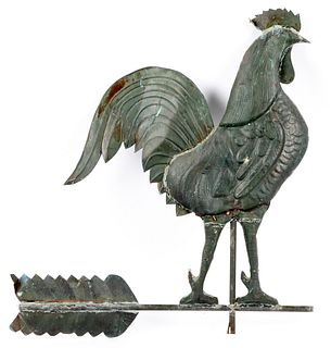 Large swell bodied copper rooster weathervane