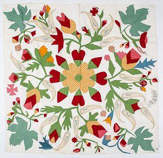 Good applique cradle summer quilt, 19th c.