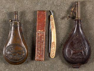 Two powder flasks, 19th c.