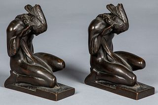 Pompeian bronze Native American Indian bookends
