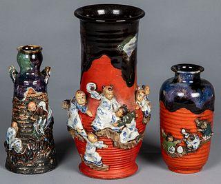 Three Japanese Sumida Gawa pottery vases, ca. 1900