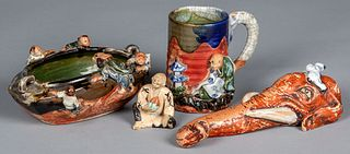 Four pieces of Japanese Sumida Gawa pottery