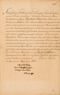 Franz II Brief in Latein mit eigenhändiger Unterschrift u. Grußworten des letzten Kaisers des Heiligen Römischen Reiches. Wien, 13. Mai 1815. 1 S. auf